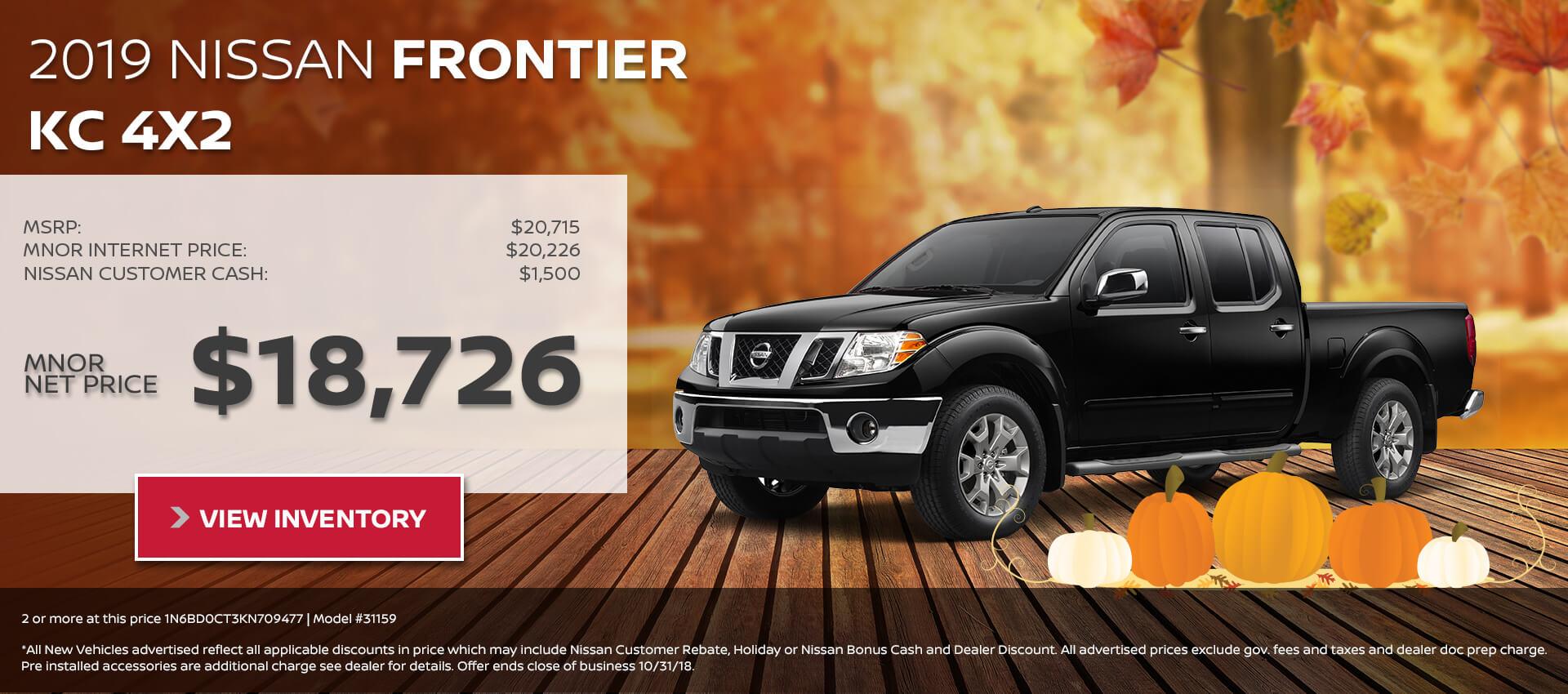 2019 Nissan Frontier KC $18,726