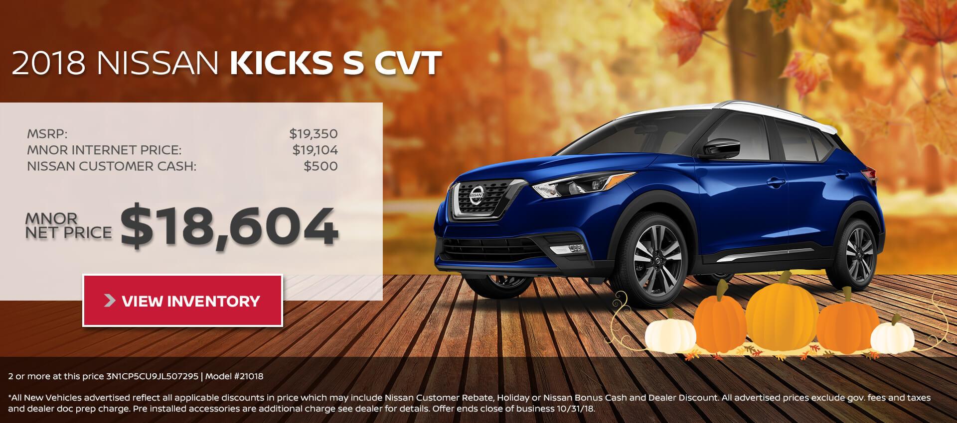 Nice 2018 Nissan Kicks $18,604