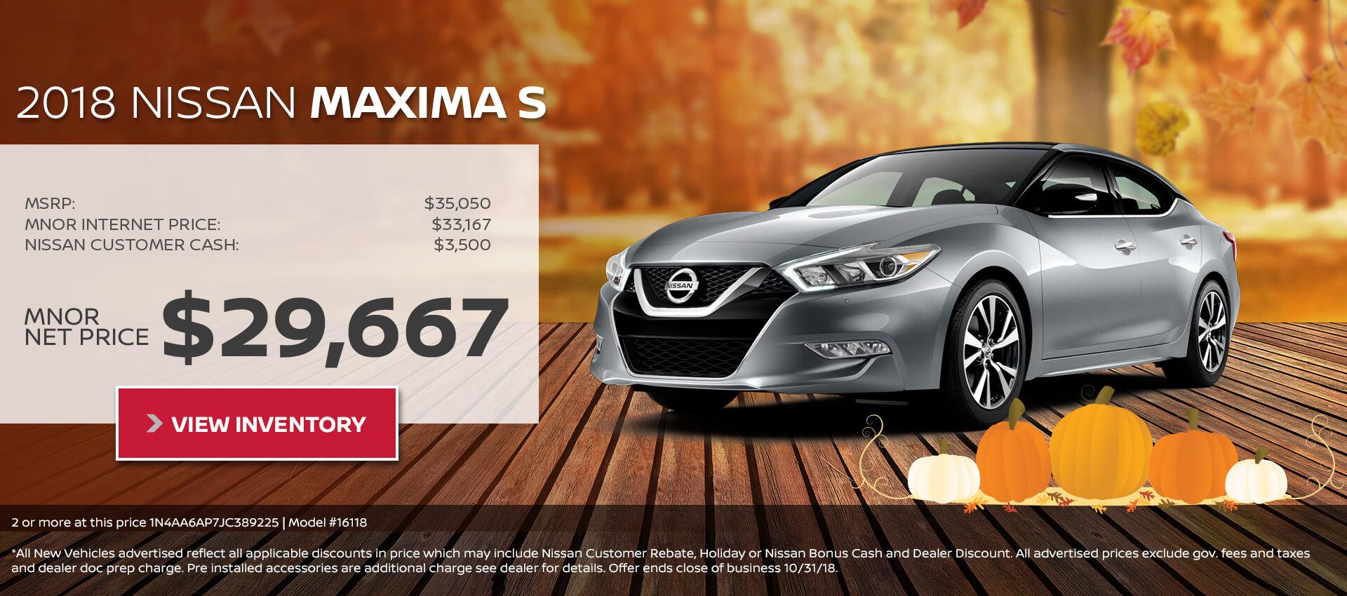 2018 Nissan Maxima $29,667