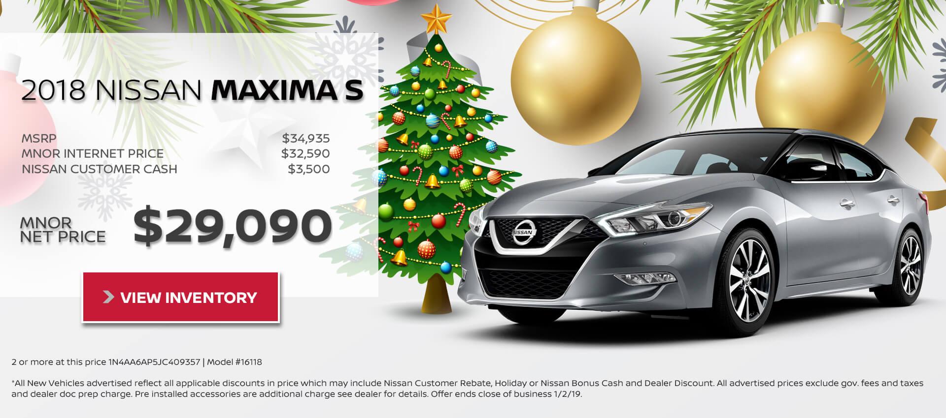 2018 Nissan Maxima $29,090