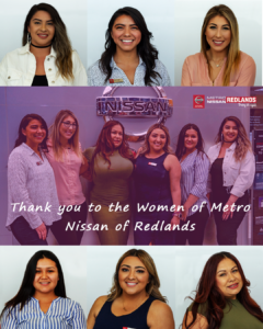 Woman in (car) sales of Metro Nissan Redlands