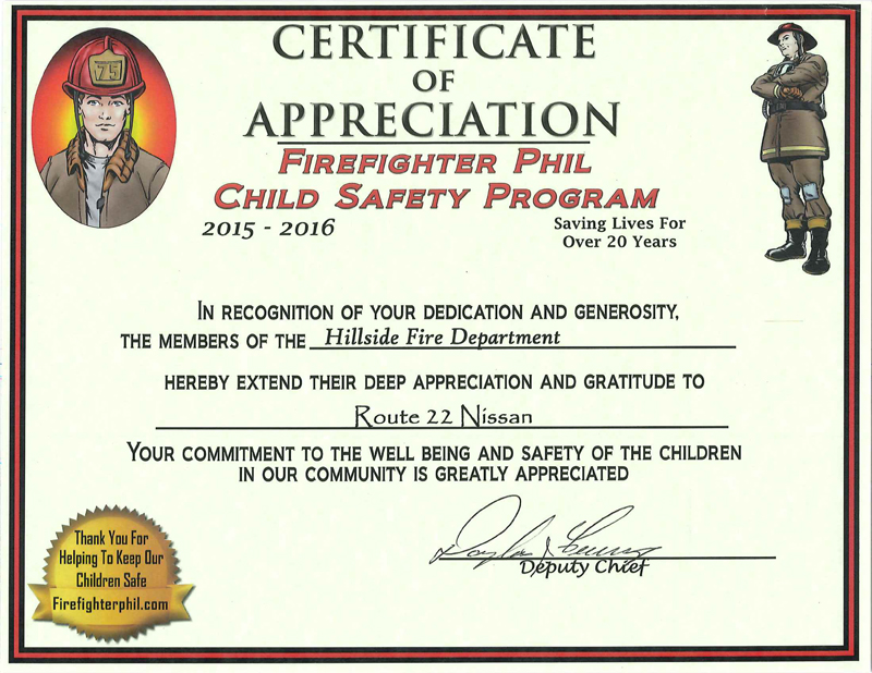 Certification of Appreciation - Route 22 Nissan