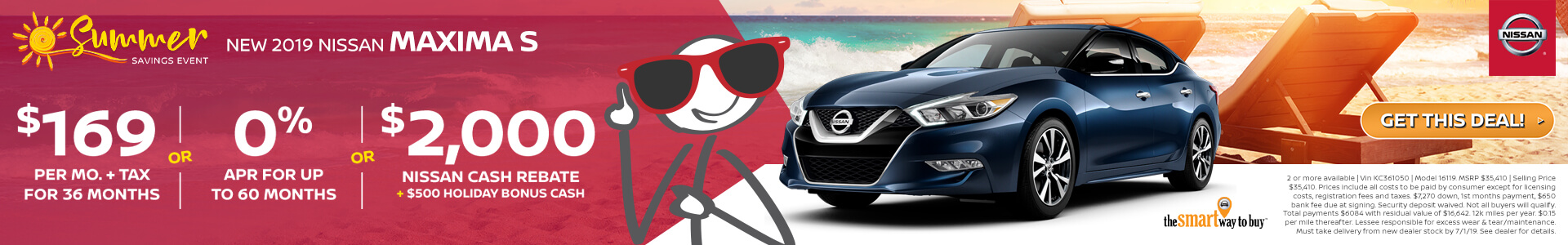 2019 Nissan Maxima Lease for $169