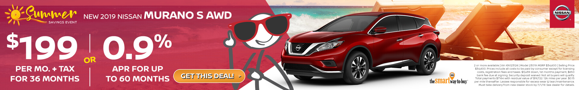 2019 Nissan Murano Lease for $199