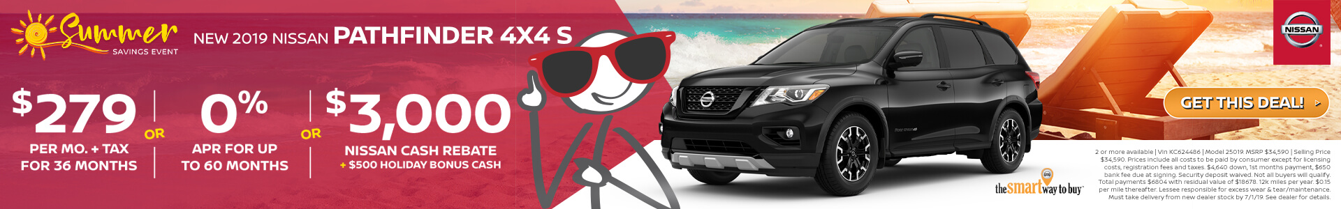 2019 Nissan Pathfinder Lease for $279