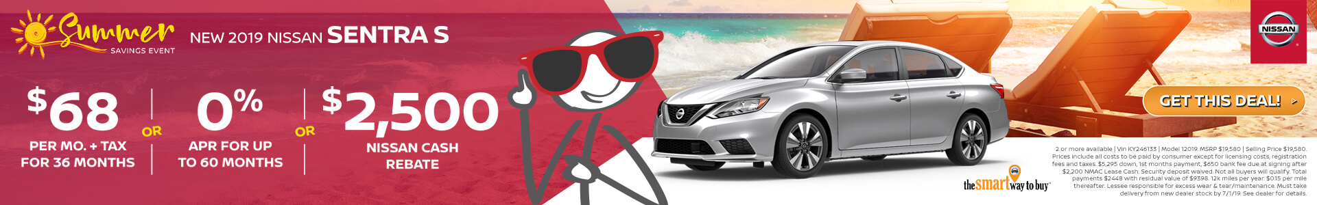 2019 Nissan Sentra Lease for $68