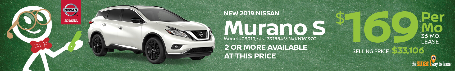 2019 Nissan Murano Lease for $169