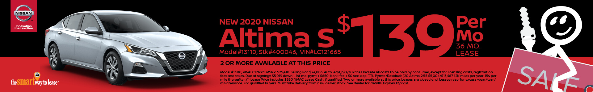2020 Nissan Altima 2.5 Lease for $139