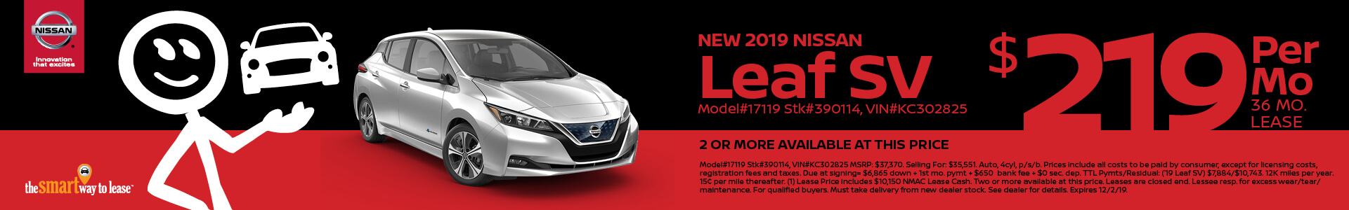 Nissan Leaf $219 Lease