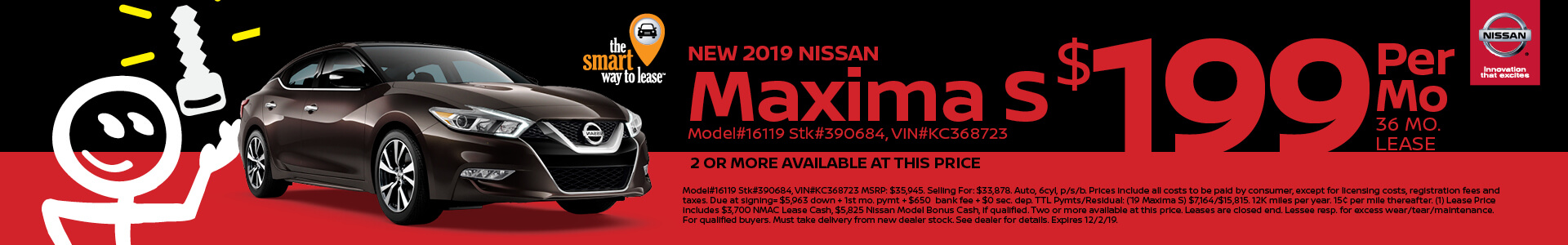 2019 Nissan Maxima Lease for $199