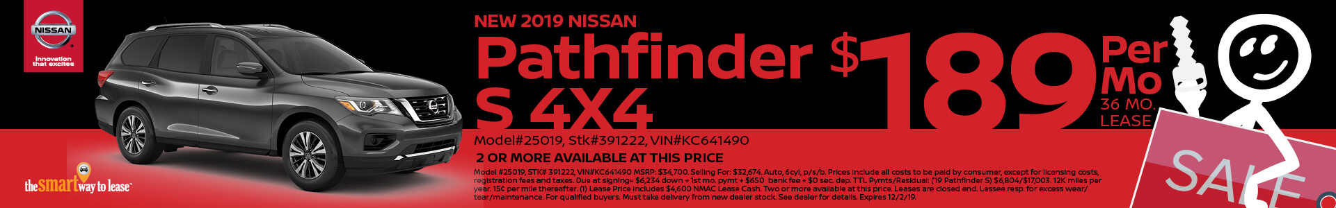 2019 Nissan Pathfinder Lease for $189