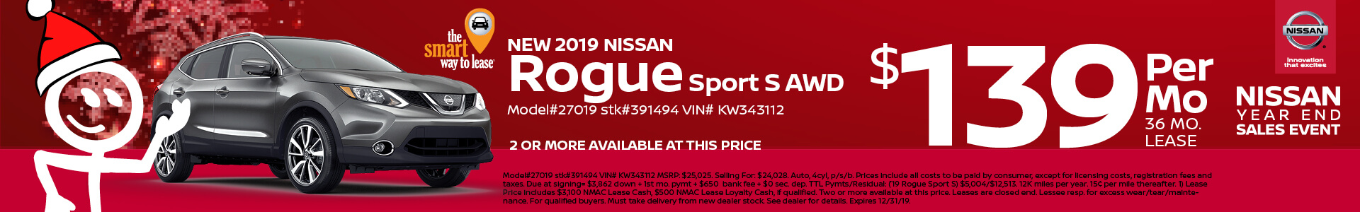 2019 Nissan Rogue Sprt Lease for $229