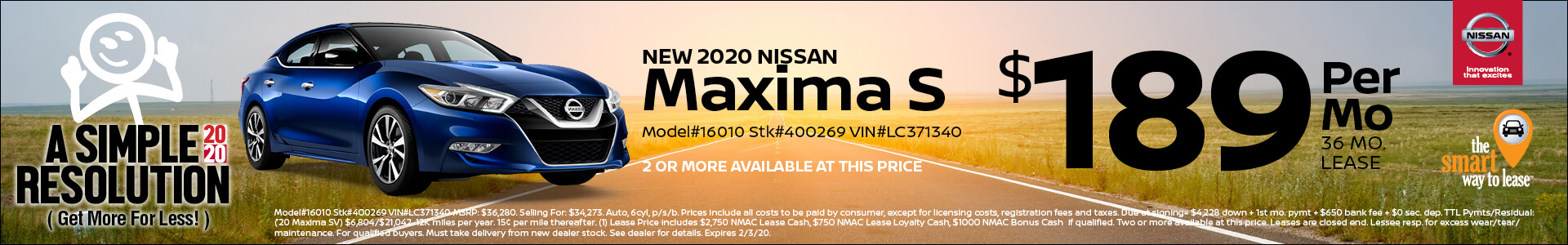 2019 Nissan Maxima Lease for $189