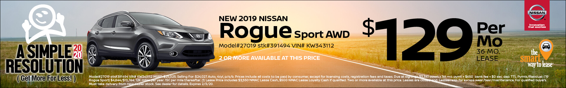 2019 Nissan Rogue Sprt Lease for $129