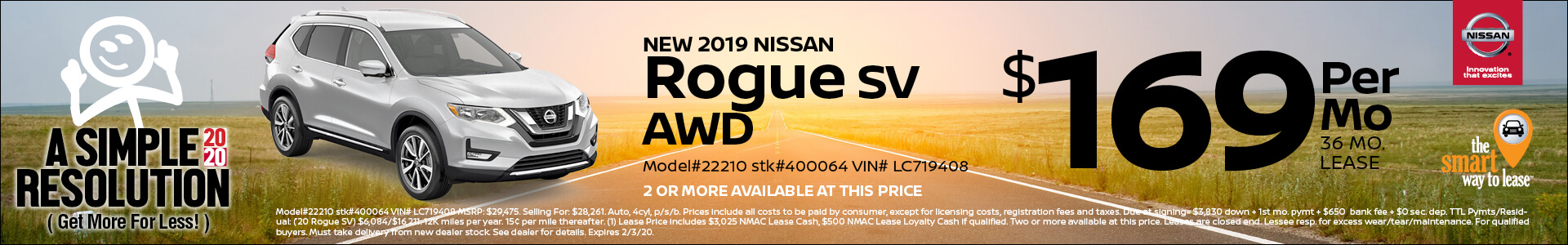 2019 Nissan Rogue Lease for $169