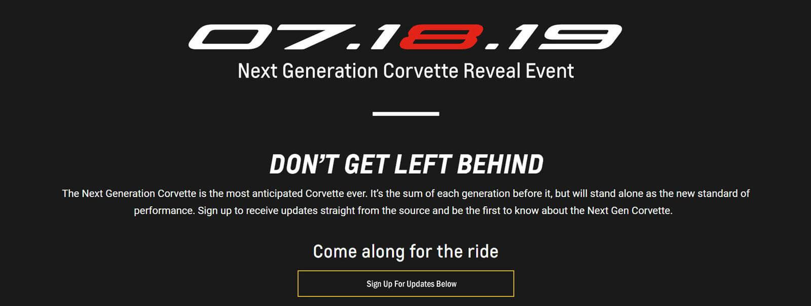 July 18, 2019 Next Generation Corvette Reveal Event