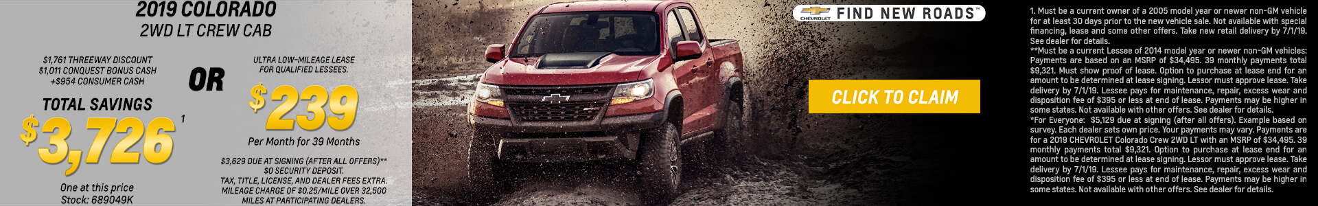 2019 Chevy Colorado Lease for $239