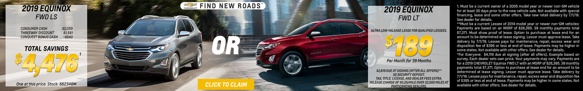 2019 Chevy Equinox lease for $189
