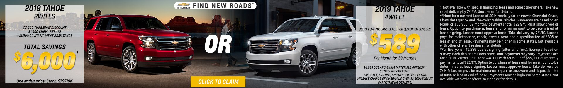 2019 Chevy Tahoe Lease for $589