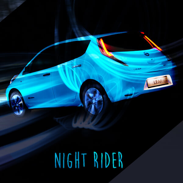 night rider nissan first to apply glow in the dark body paint mossy nissan. Black Bedroom Furniture Sets. Home Design Ideas