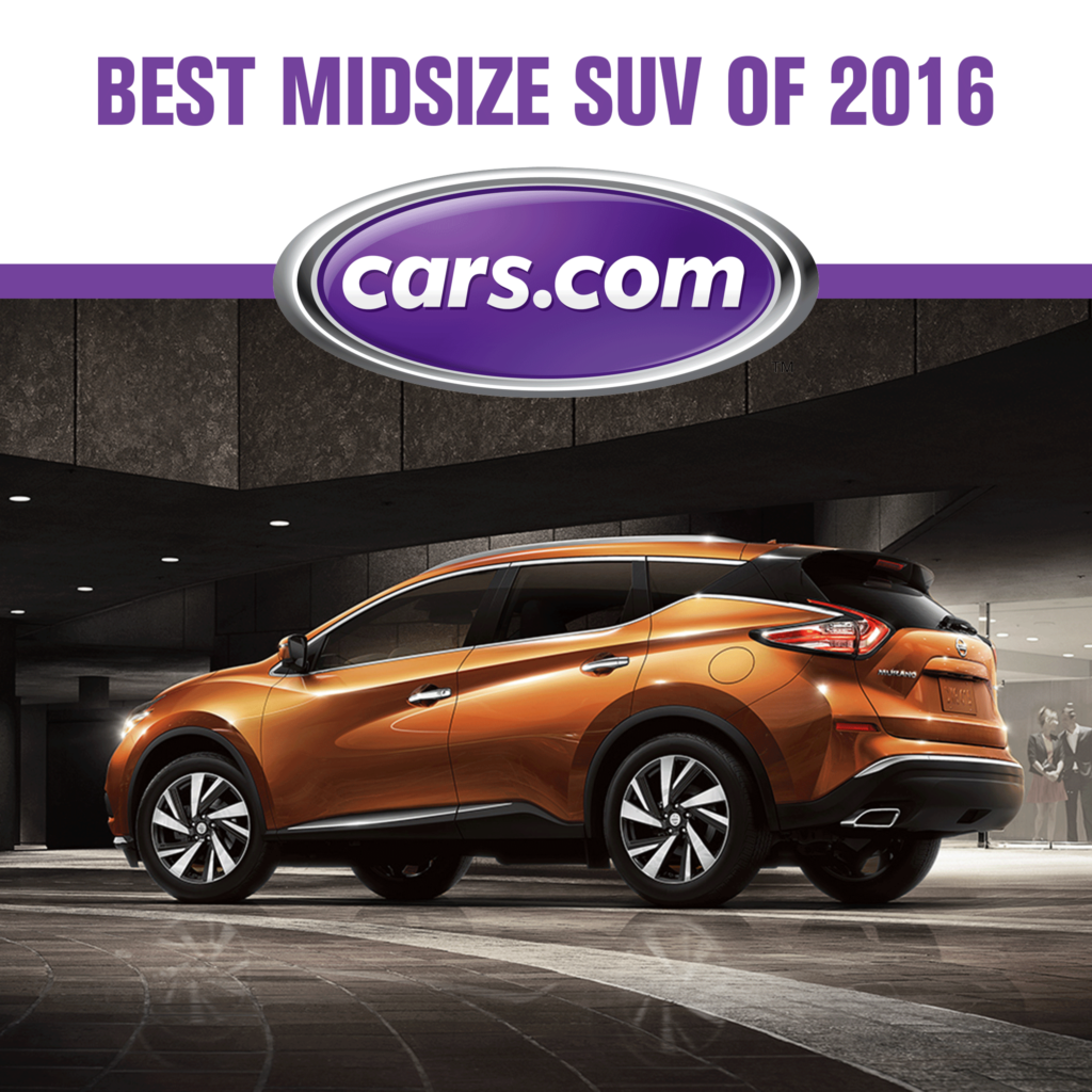 """Mossy Nissan Chula Vista >> Nissan Murano named """"Best Midsize SUV of 2016"""" by Cars.com and MotorWeek - Mossy Nissan"""