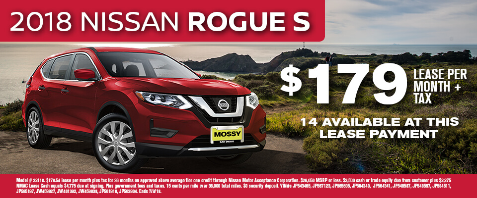 2018 Nissan Rogue S $179 lease per month + tax
