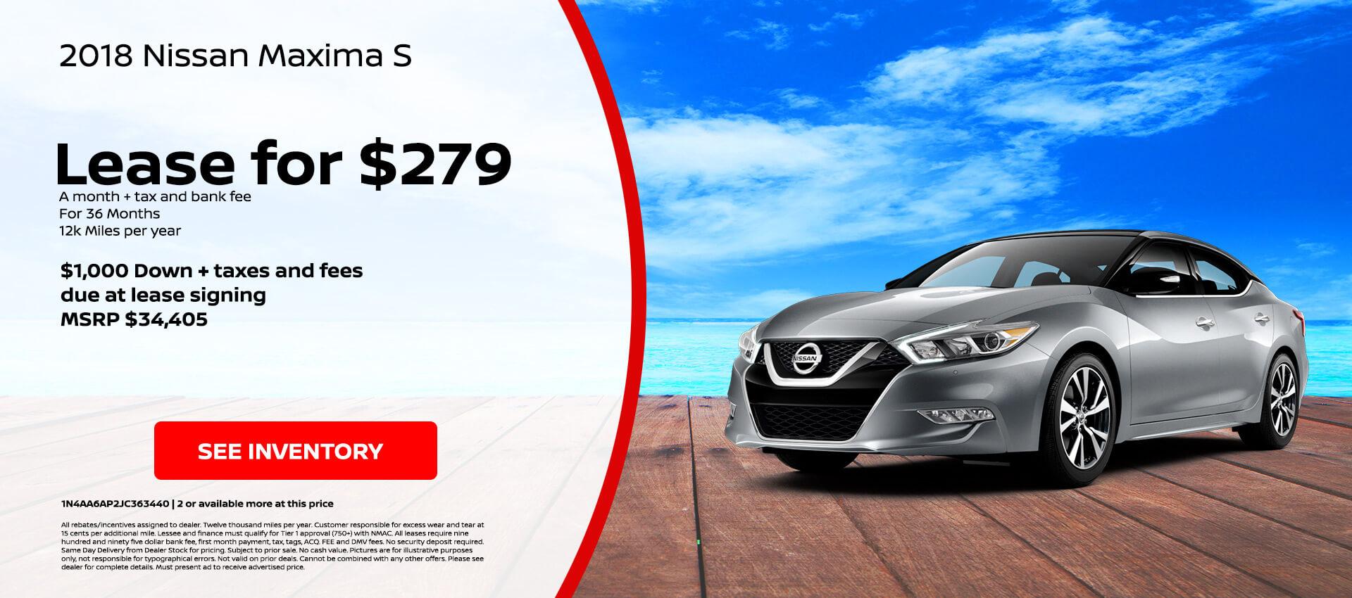Nissan Maxima $279 Lease