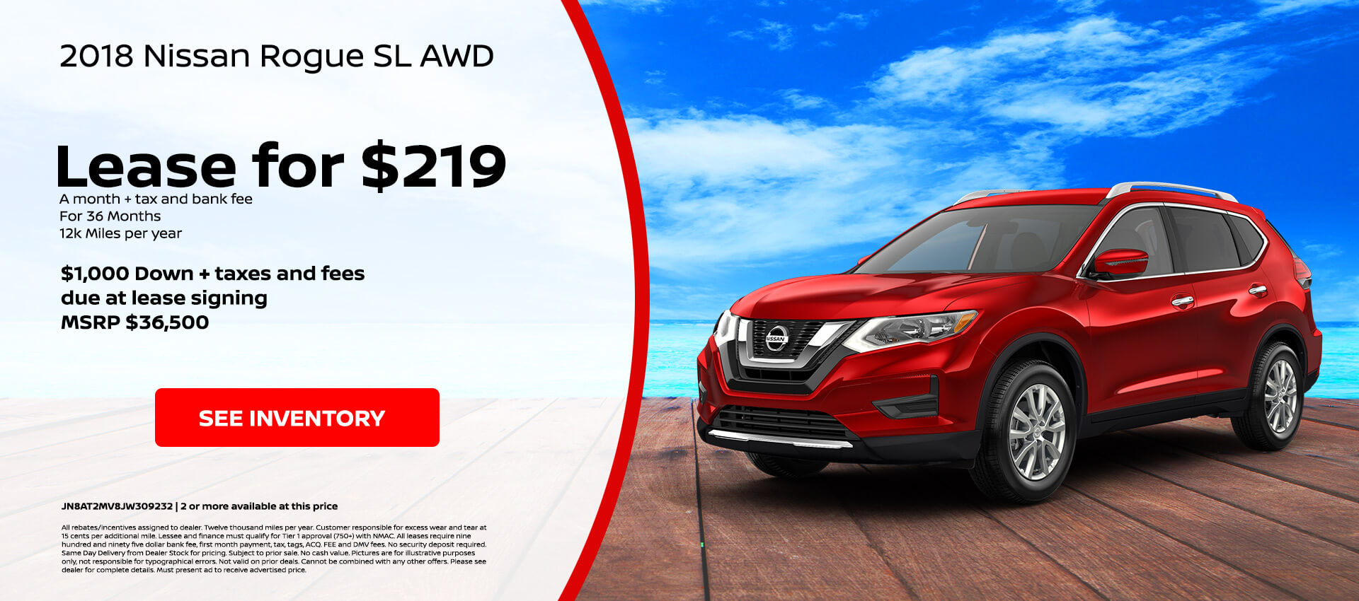 Nissan Rogue SL $219 Lease