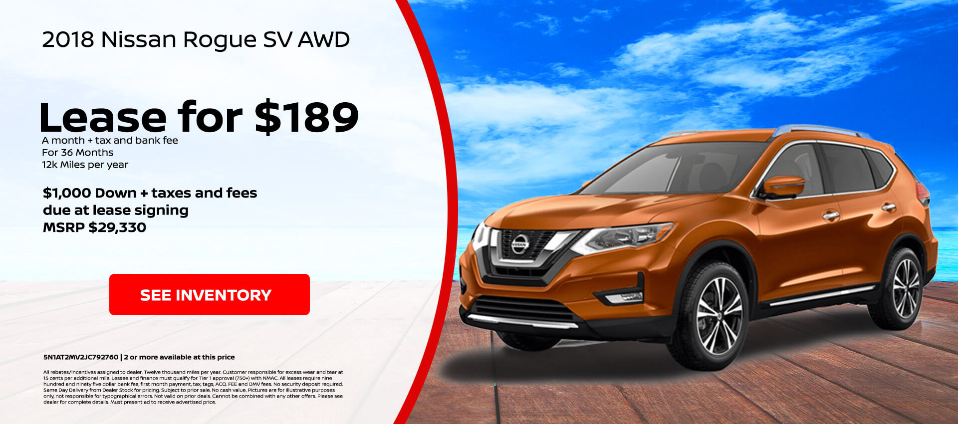 Nissan Rogue SV $189 Lease