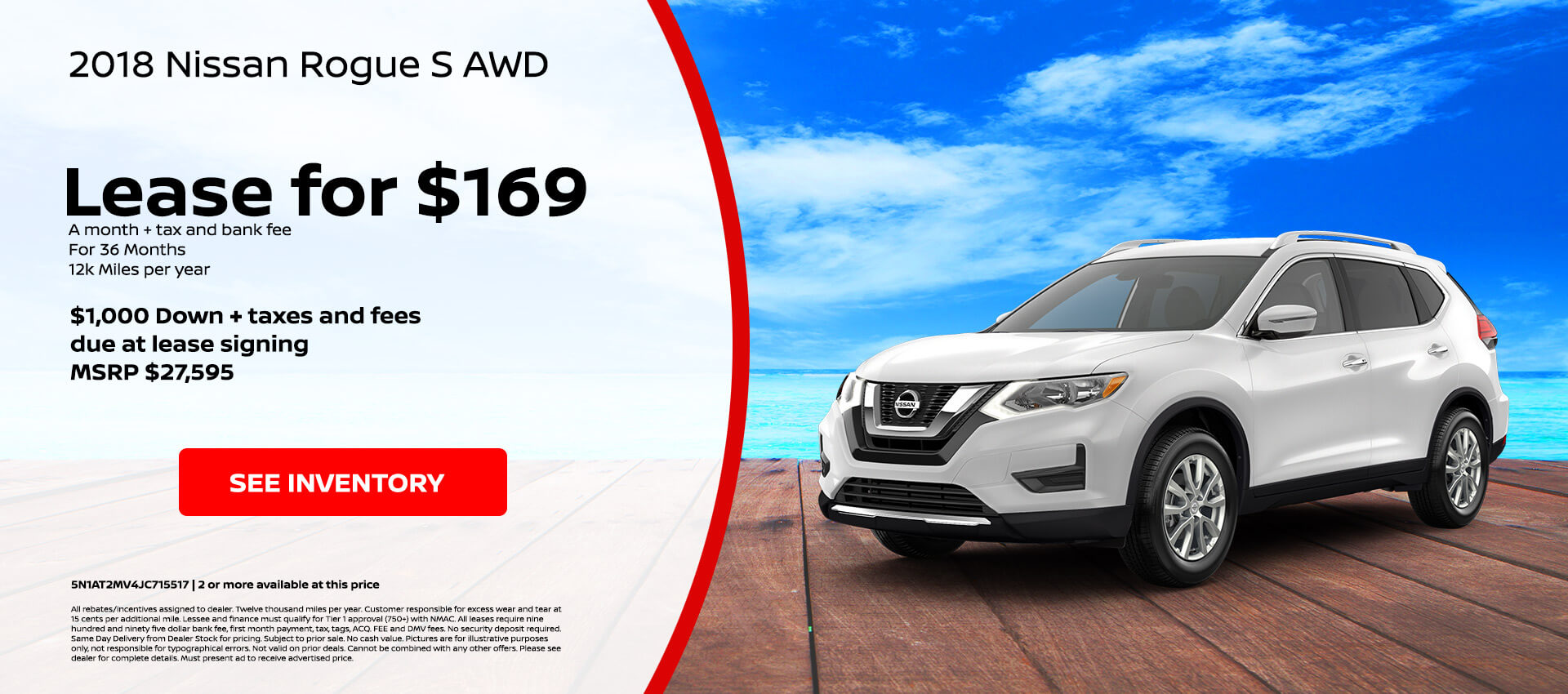 Nissan Rogue S $169 Lease