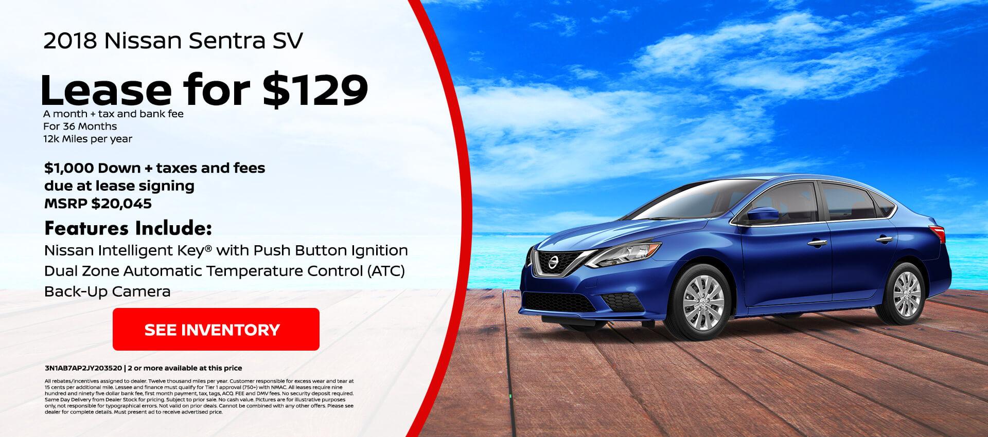 Nissan Sentra $129 Lease