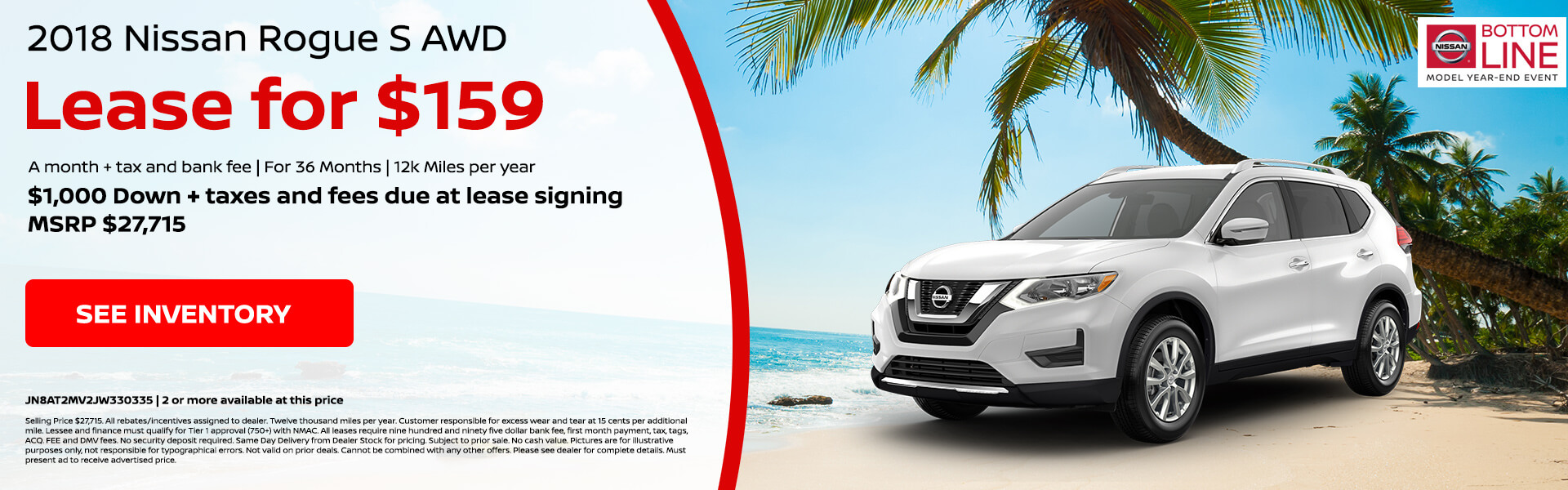 Nissan Rogue S $159 Lease