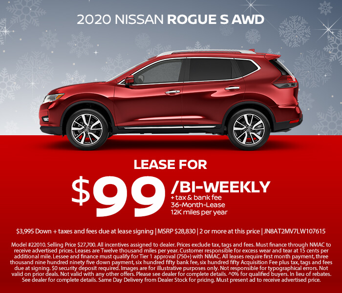 2020 Nissan Rogue Lease for $99/Bi-Weekly