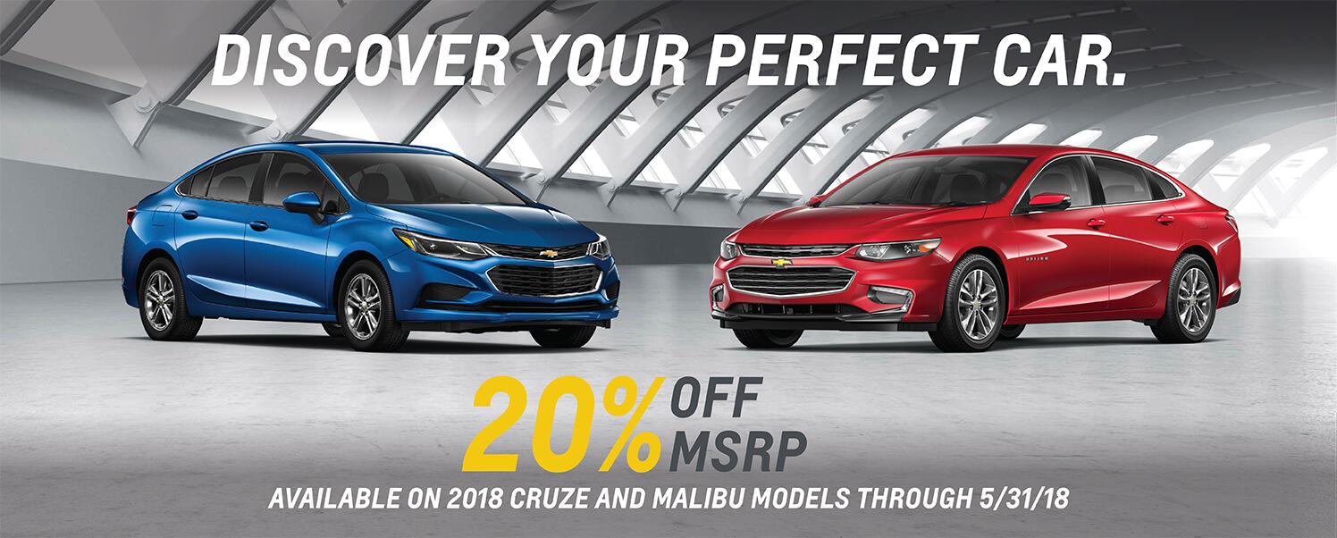 Chevrolet Cruze & Malibu 20% Off MSRP