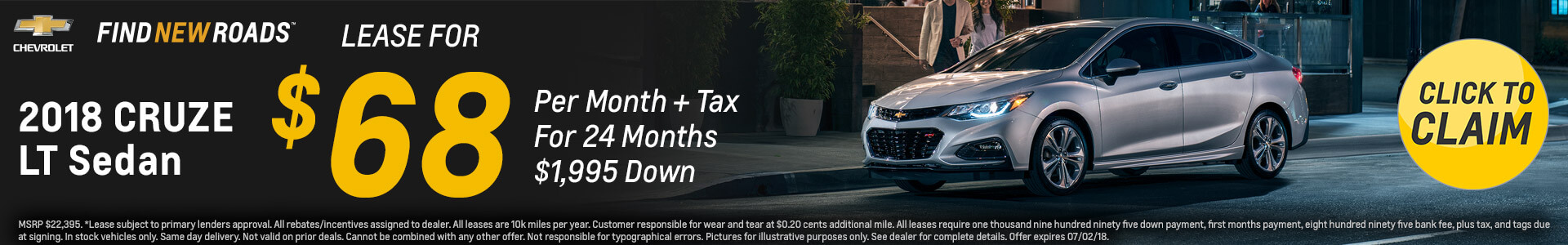 Chevrolet Cruze $68 Lease