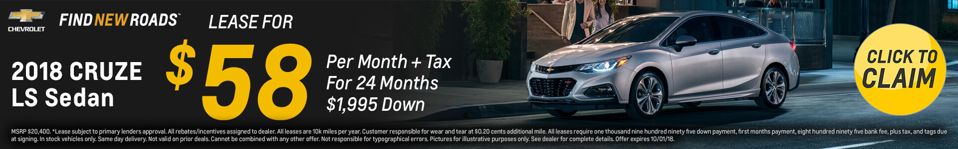 Chevrolet Cruze $58 Lease