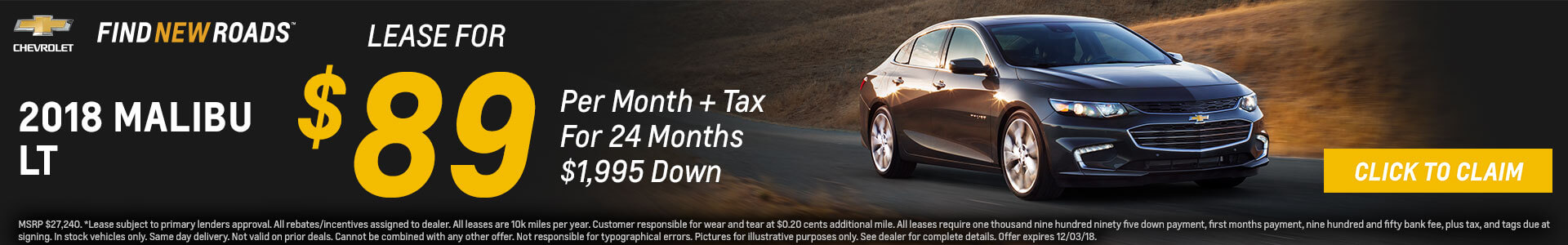 Chevrolet Malibu $89 Lease