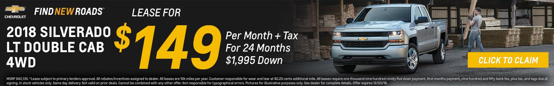 Chevrolet Silverado $149 Lease
