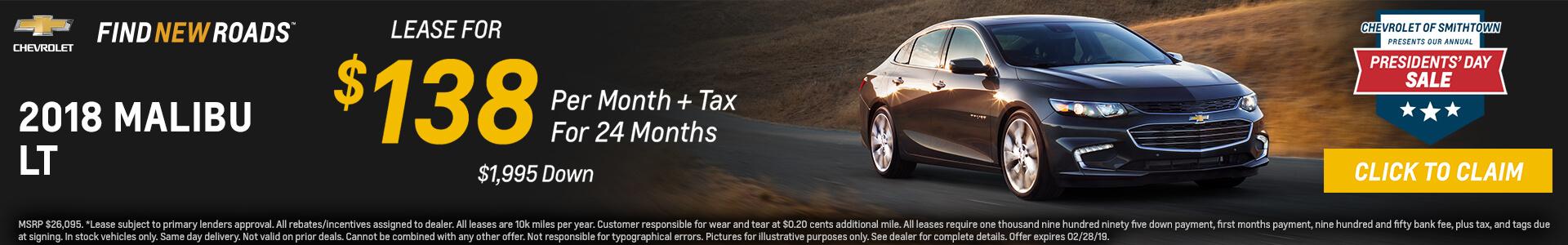 Chevrolet Malibu $138 Lease