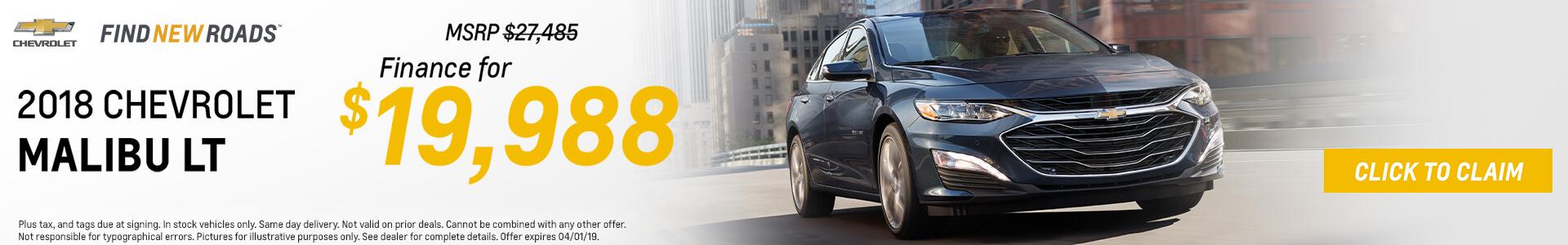 Chevrolet Malibu $19,988