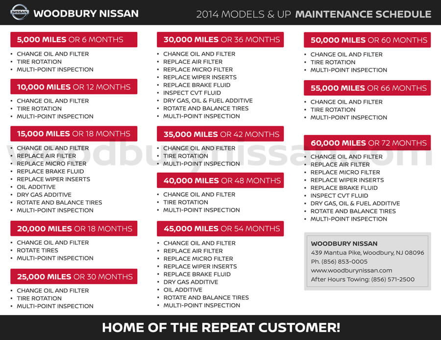 See The Service Menu for What's Available at Woodbury Nissan