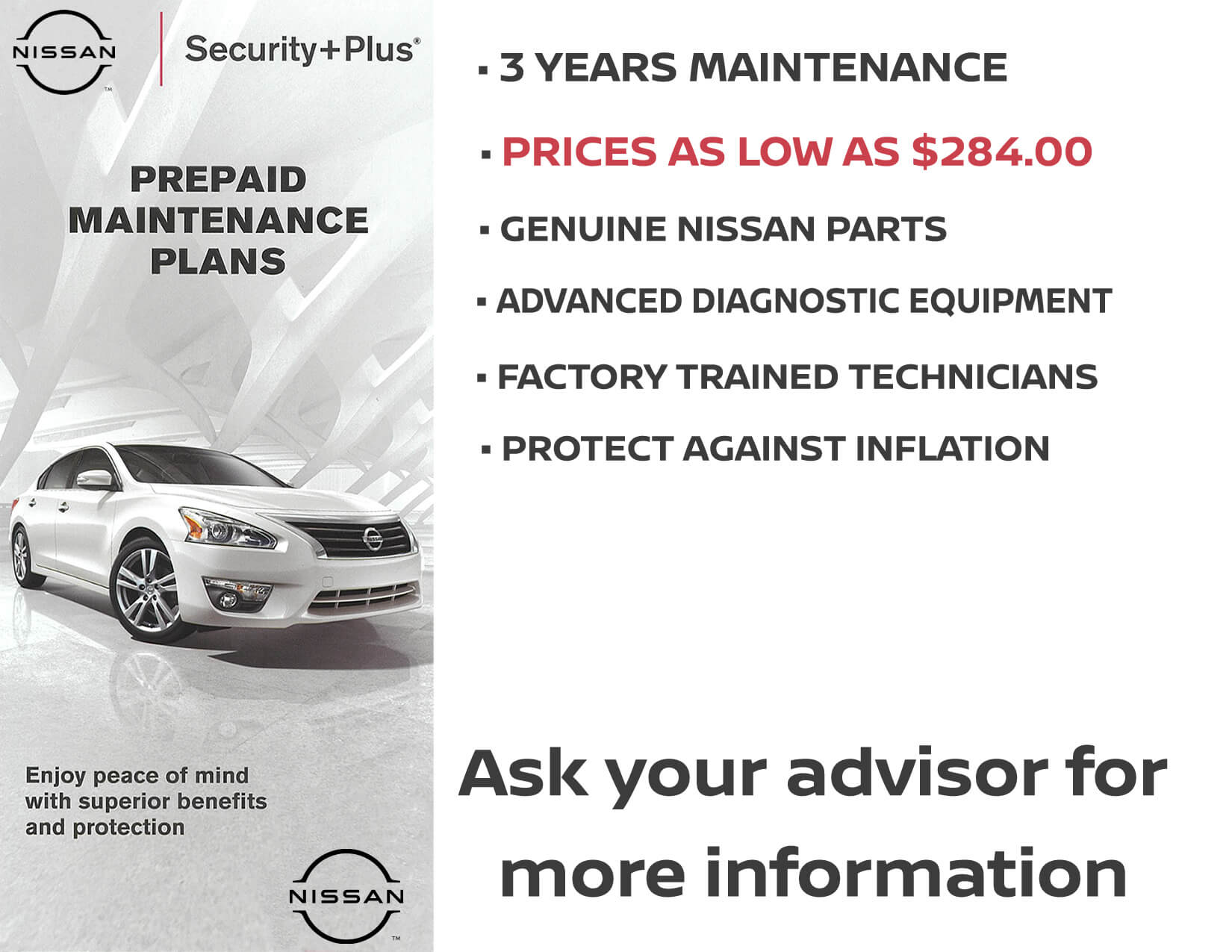 Pre-Paid Maintenance Plans at Woodbury Nissan - Ask your advisor for more information