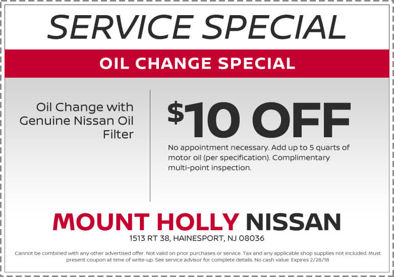 Specials On Service For Your Nissan From Mount Holly