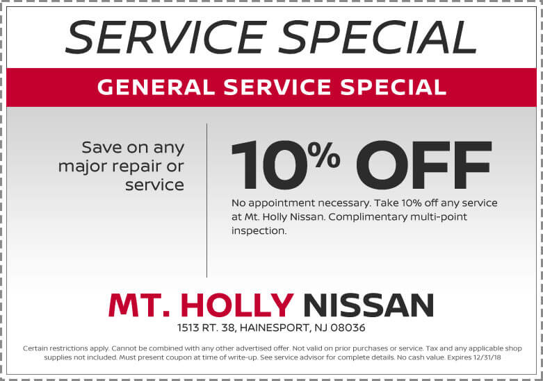 specials on service for your nissan from mount holly nissan dealers