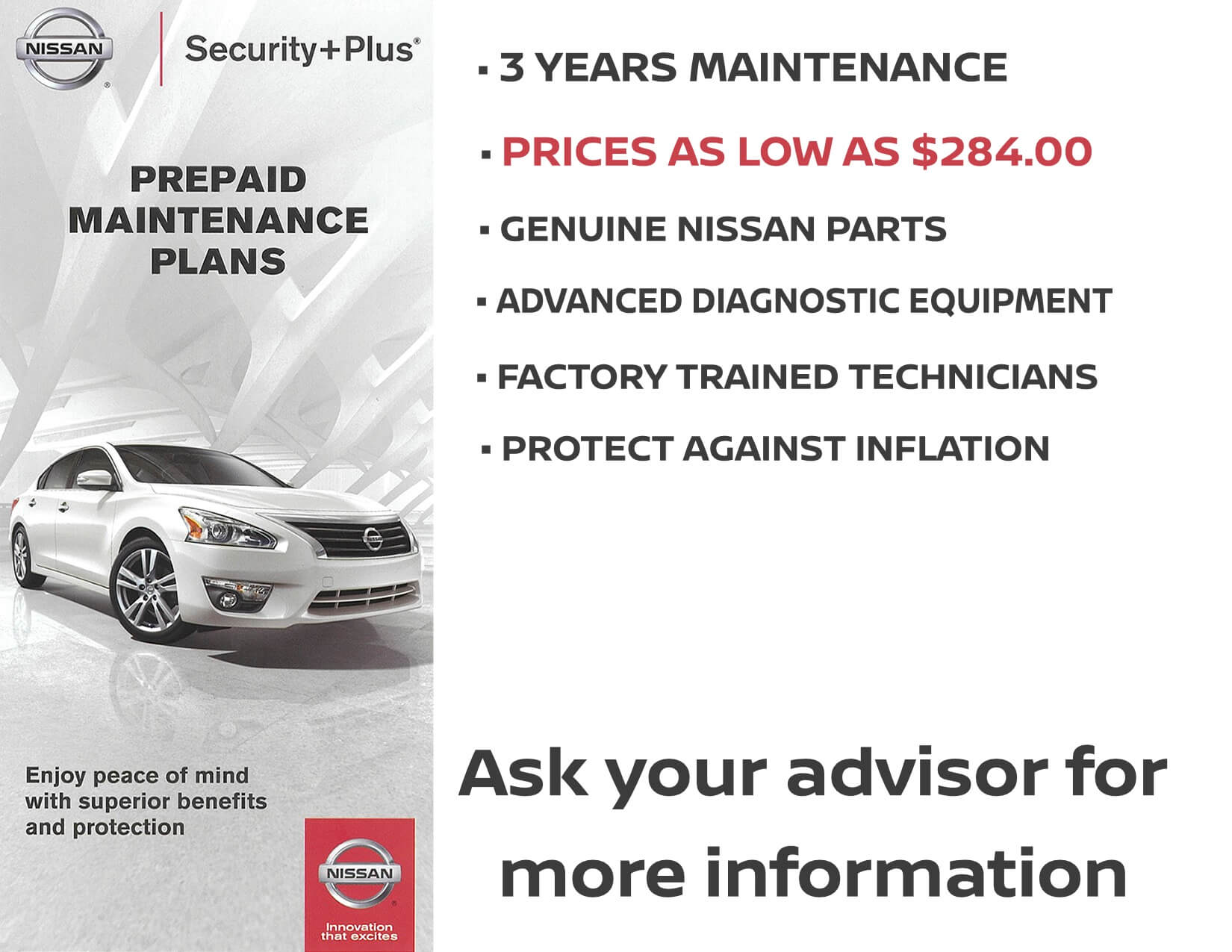 Pre-Paid Maintenance Plans at Mt Holly Nissan - Ask your advisor for more information