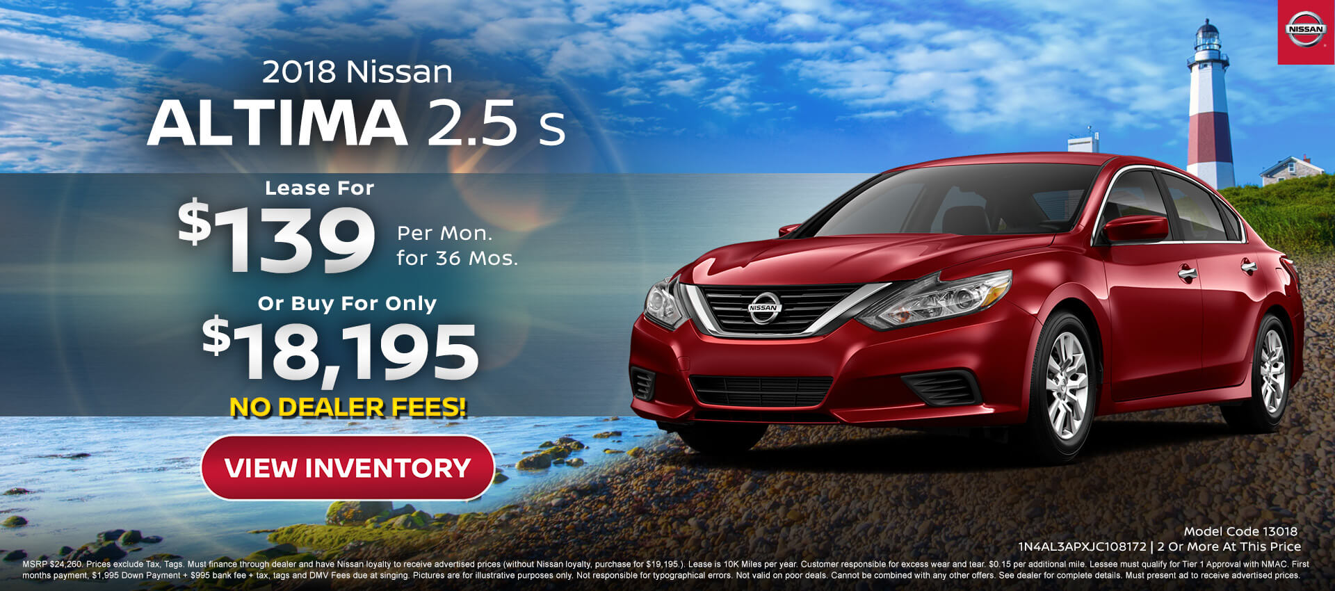 Nissan Altima $139 Lease, $17,995 Purcahse