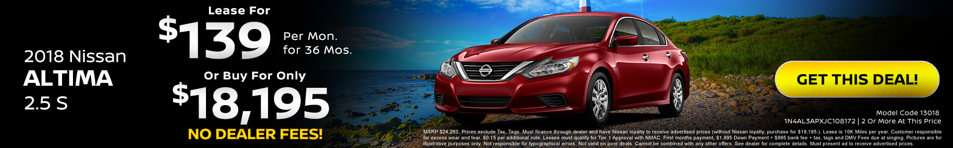 Nissan Altima $139 Lease, $17,995 Purchase