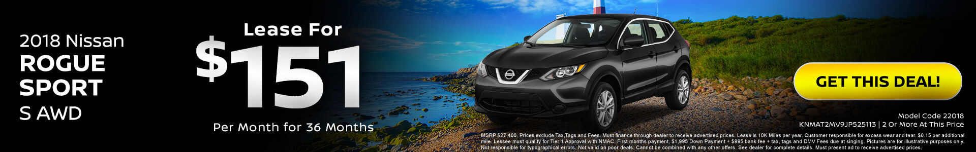 Nissan Rogue Sport $151 Lease