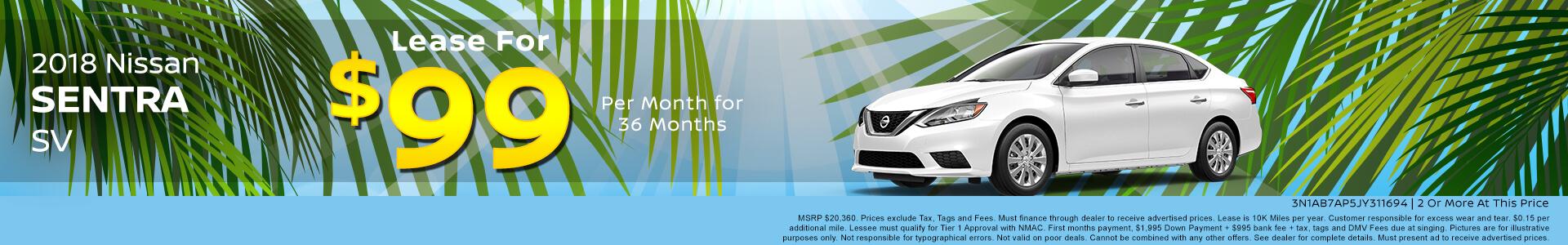 Nissan Sentra $99 Lease
