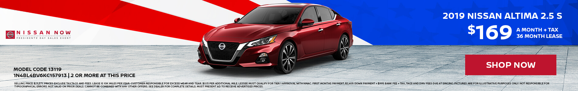 2019 Nissan Altima $169 Lease